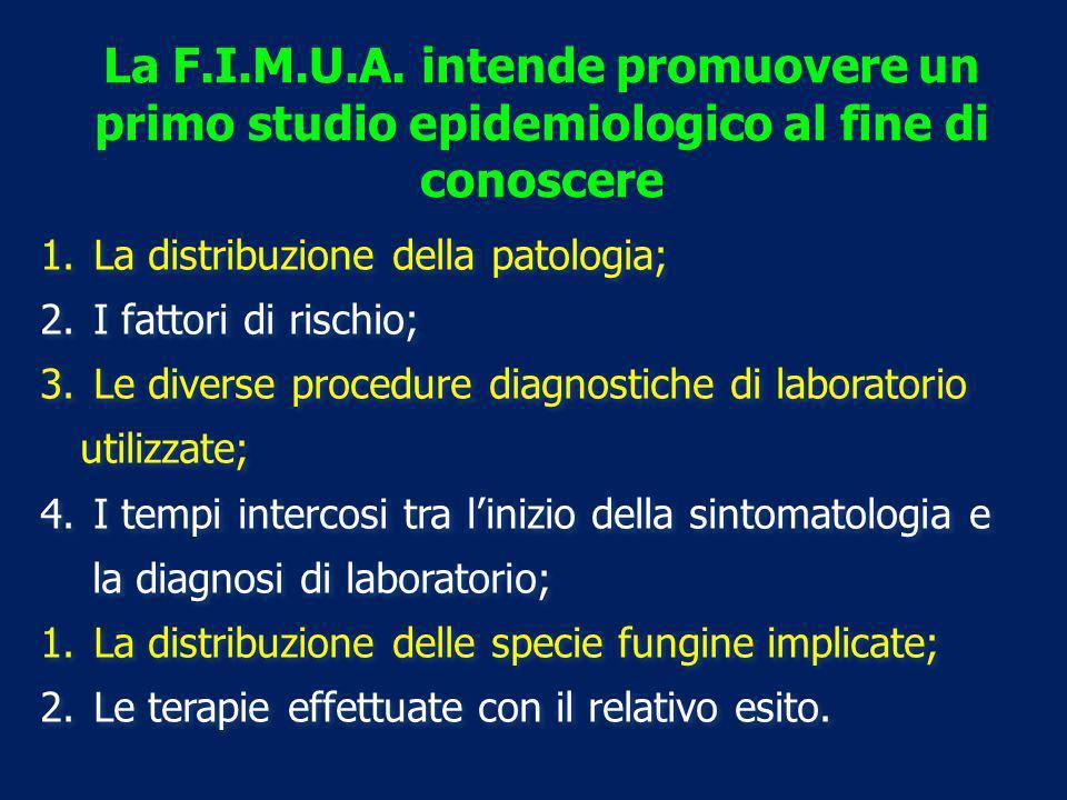 La F.I.M.U.A. intende promuovere un primo studio epidemiologico al fine di conoscere 1. La distribuzione della patologia; 2. I fattori di rischio; 3.