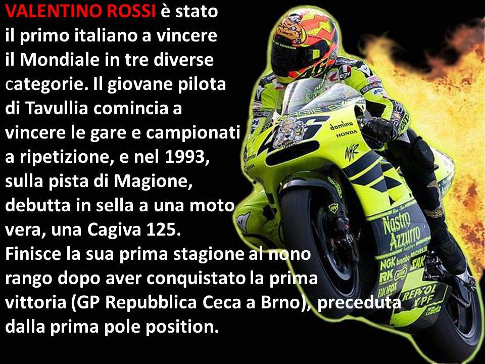 VALENTINO ROSSI è stato il primo italiano a vincere il Mondiale in tre diverse categorie. Il giovane pilota di Tavullia comincia a vincere le gare e c
