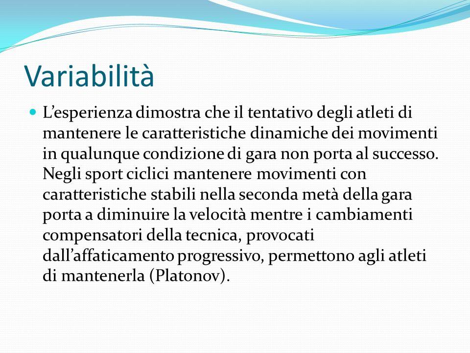 Variabilità Lesperienza dimostra che il tentativo degli atleti di mantenere le caratteristiche dinamiche dei movimenti in qualunque condizione di gara non porta al successo.