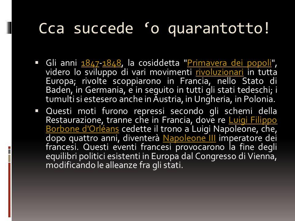 Ulteriore passo verso l unità fu la spedizione dei Mille garibaldini in Sud Italia.