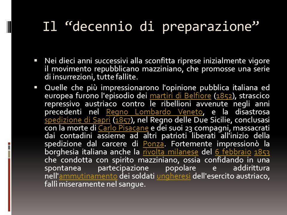Il decennio di preparazione Nei dieci anni successivi alla sconfitta riprese inizialmente vigore il movimento repubblicano mazziniano, che promosse un