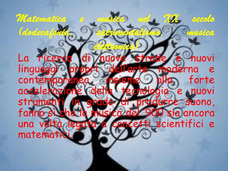 Matematica e musica nel XX secolo (dodecafonia, sperimentalismo, musica elettronica) La ricerca di nuove strade e nuovi linguaggi propri dellarte mode