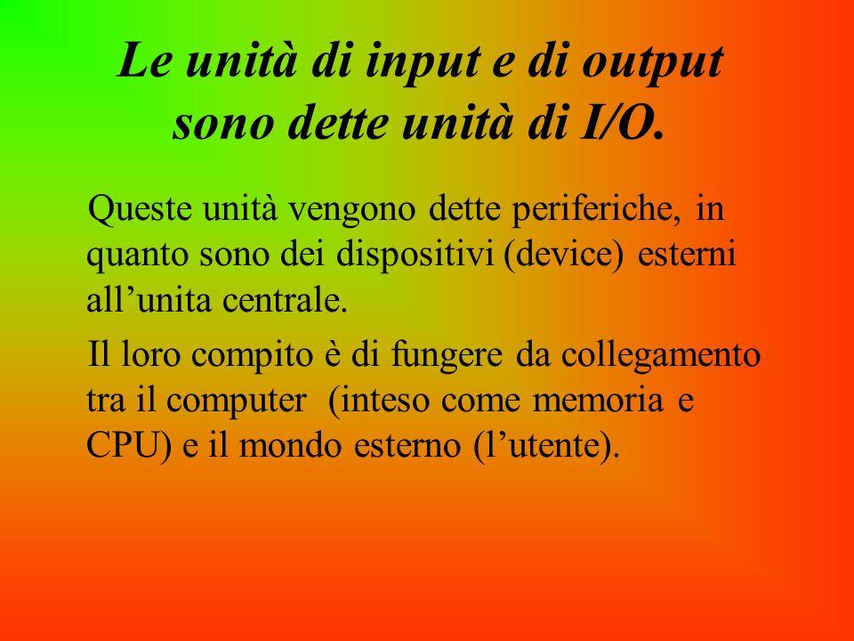 Le unità di input e di output sono dette unità di I/O.