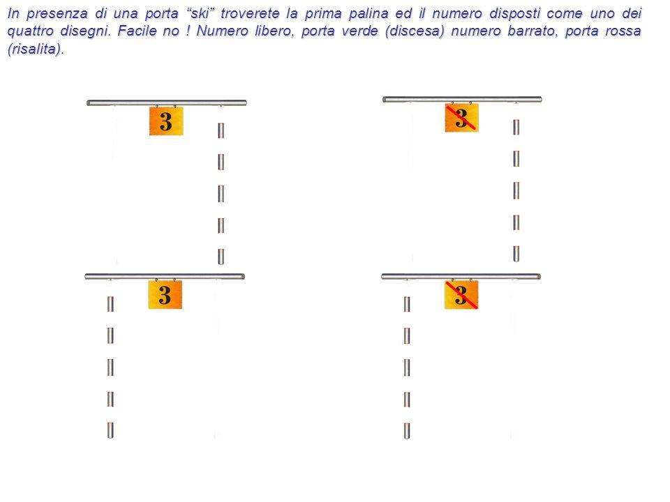 In presenza di una porta ski troverete la prima palina ed il numero disposti come uno dei quattro disegni. Facile no ! Numero libero, porta verde (dis