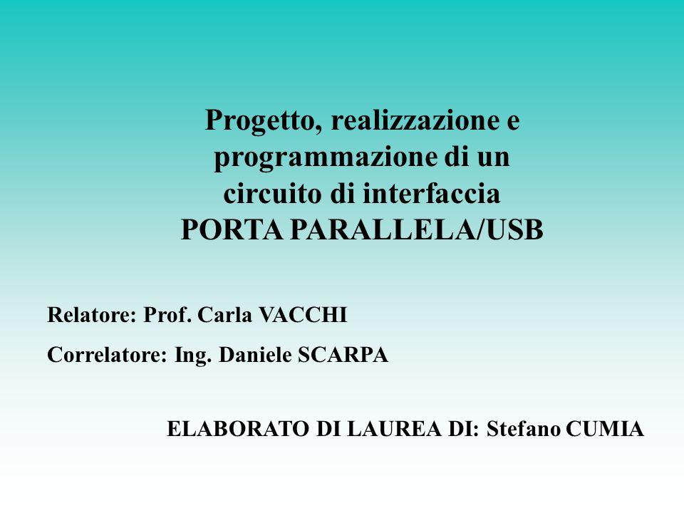 Progetto, realizzazione e programmazione di un circuito di interfaccia PORTA PARALLELA/USB Relatore: Prof. Carla VACCHI Correlatore: Ing. Daniele SCAR
