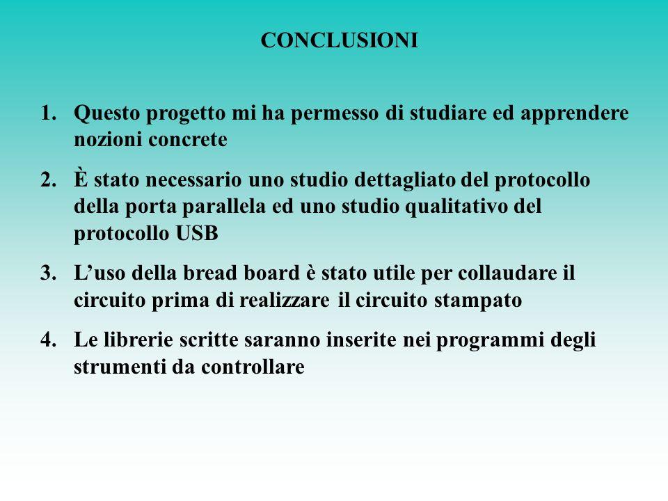 CONCLUSIONI 1.Questo progetto mi ha permesso di studiare ed apprendere nozioni concrete 2.È stato necessario uno studio dettagliato del protocollo del