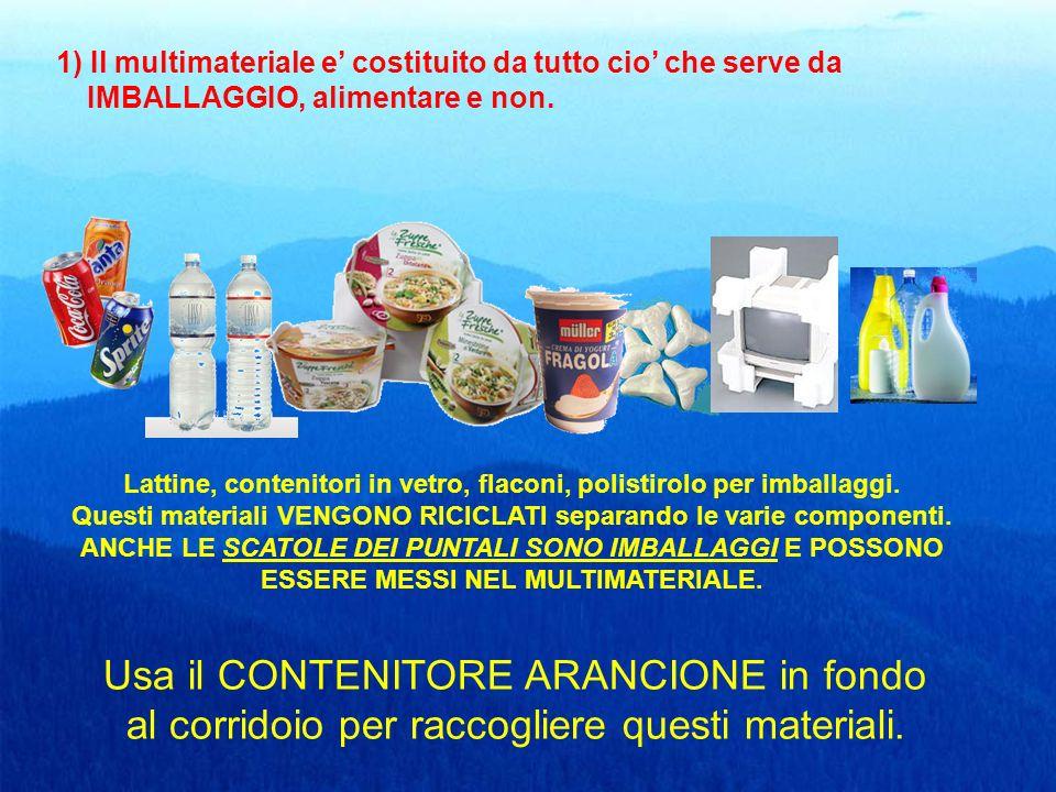 1) Il multimateriale e costituito da tutto cio che serve da IMBALLAGGIO, alimentare e non.