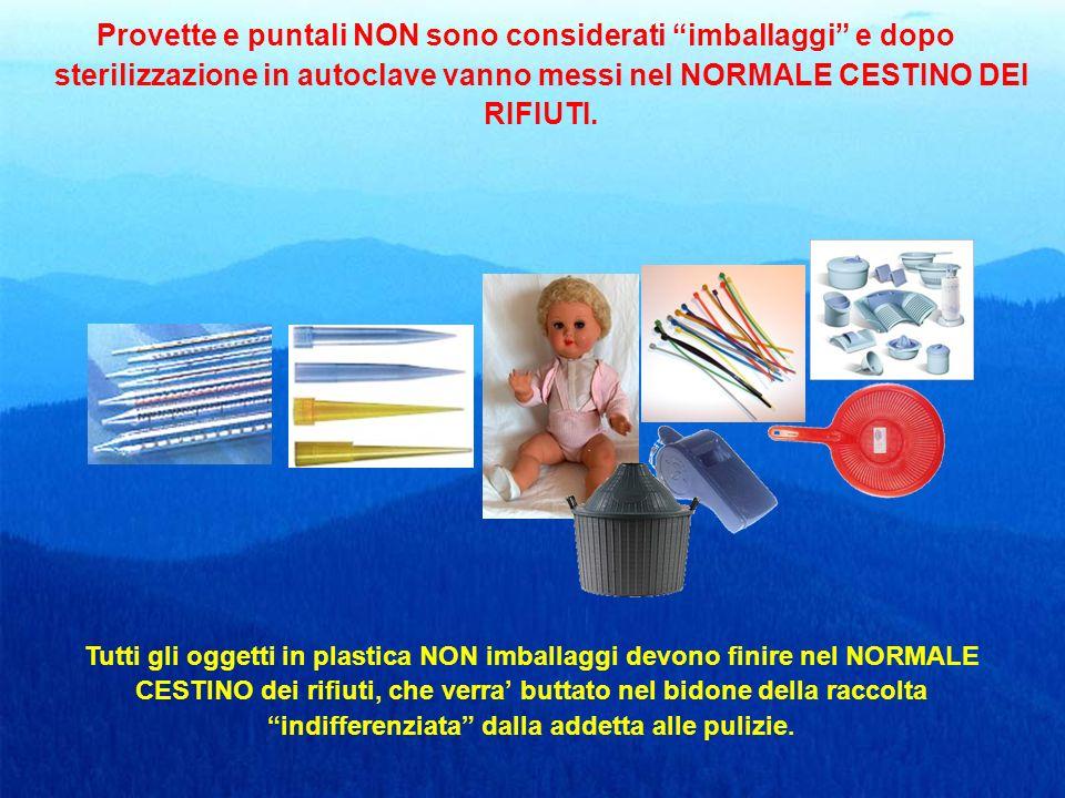 Provette e puntali NON sono considerati imballaggi e dopo sterilizzazione in autoclave vanno messi nel NORMALE CESTINO DEI RIFIUTI.