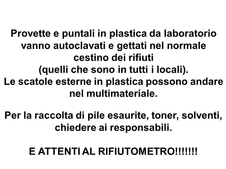 Provette e puntali in plastica da laboratorio vanno autoclavati e gettati nel normale cestino dei rifiuti (quelli che sono in tutti i locali).