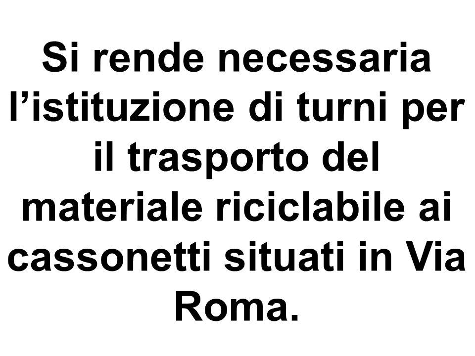 Si rende necessaria listituzione di turni per il trasporto del materiale riciclabile ai cassonetti situati in Via Roma.