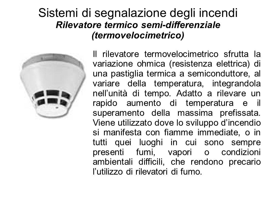 Sistemi di segnalazione degli incendi Rilevatore termico semi-differenziale (termovelocimetrico) Il rilevatore termovelocimetrico sfrutta la variazion
