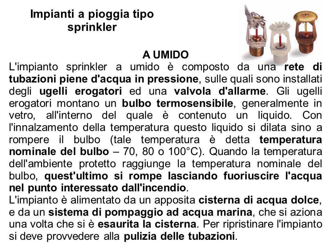 Impianti a pioggia tipo sprinkler A UMIDO L'impianto sprinkler a umido è composto da una rete di tubazioni piene d'acqua in pressione, sulle quali son