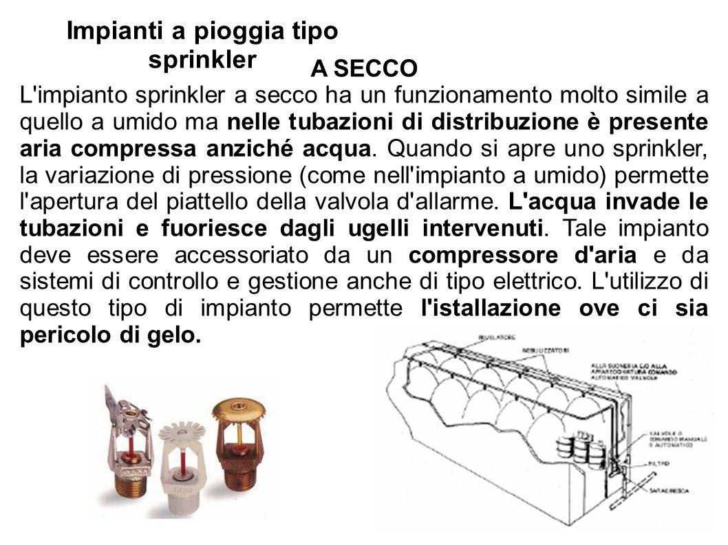 Impianti a pioggia tipo sprinkler A SECCO L'impianto sprinkler a secco ha un funzionamento molto simile a quello a umido ma nelle tubazioni di distrib