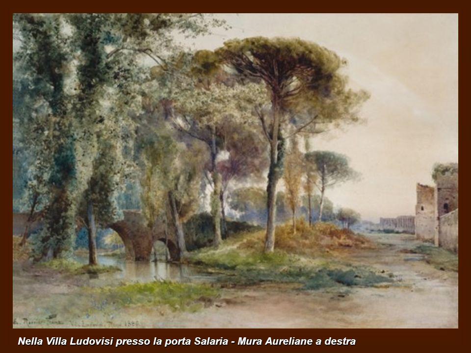 Il Tevere da Ponte Sisto. Sulla sinistra i giardini della Farnesina. Al centro un barcone. Sullo sfondo la cupola di S.Pietro ed il Campanile di S.Spi