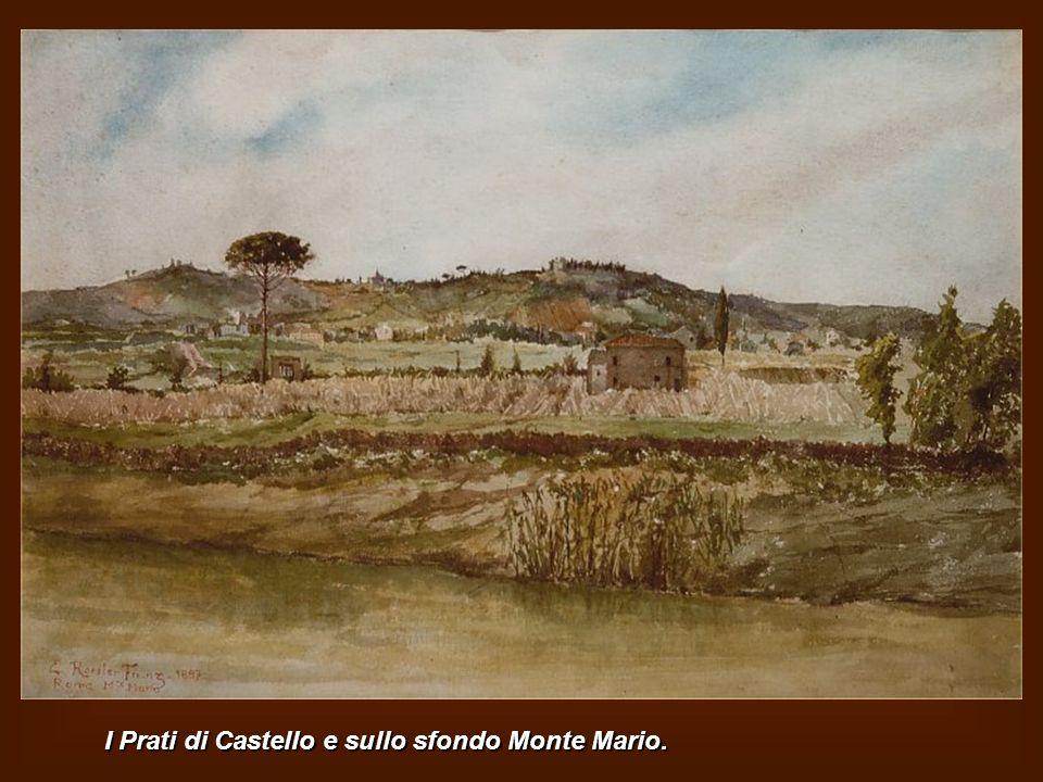 Villa Ludovisi presso Porta Salaria con le Mura Aureliane a destra. Oggi è la zona compresa tra Via Campania e Via Boncompagni presso P.zza Fiume Oggi