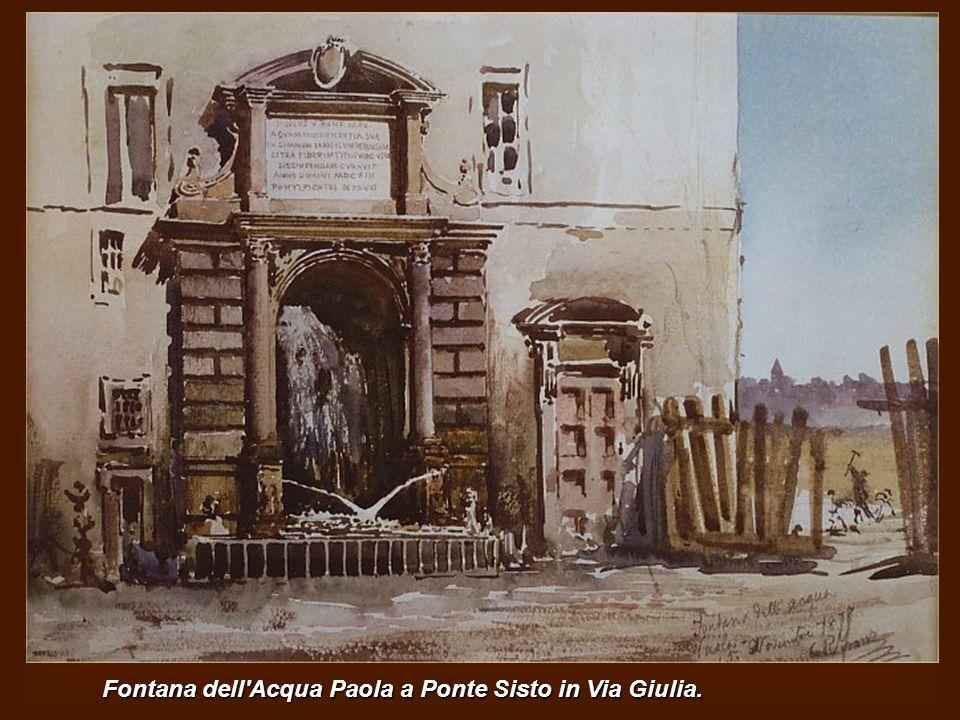 Via del Campanile in Borgo con il Campanile della Chiesa di S.Maria in Traspontina Sullo sfondo il Passetto di Borgo. Vecchie case nel vicolo della Vo