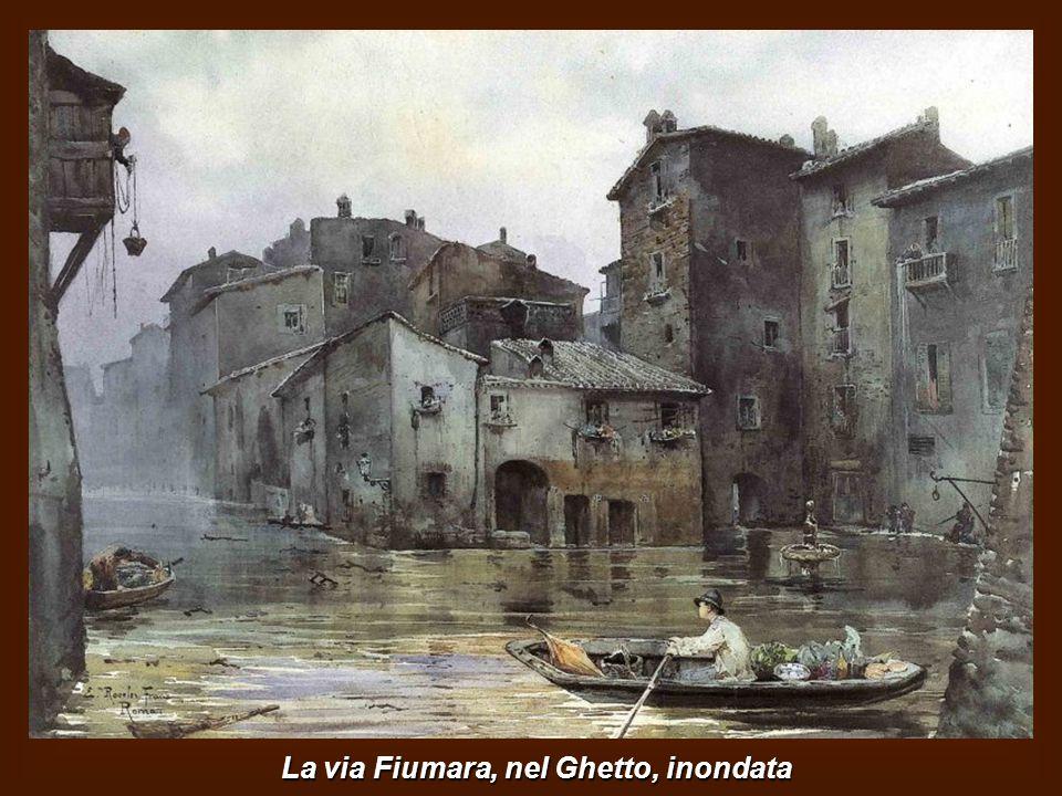 Barca sul Tevere dopo Ponte Milvio con la cupola di S.Pietro sullo sfondo.