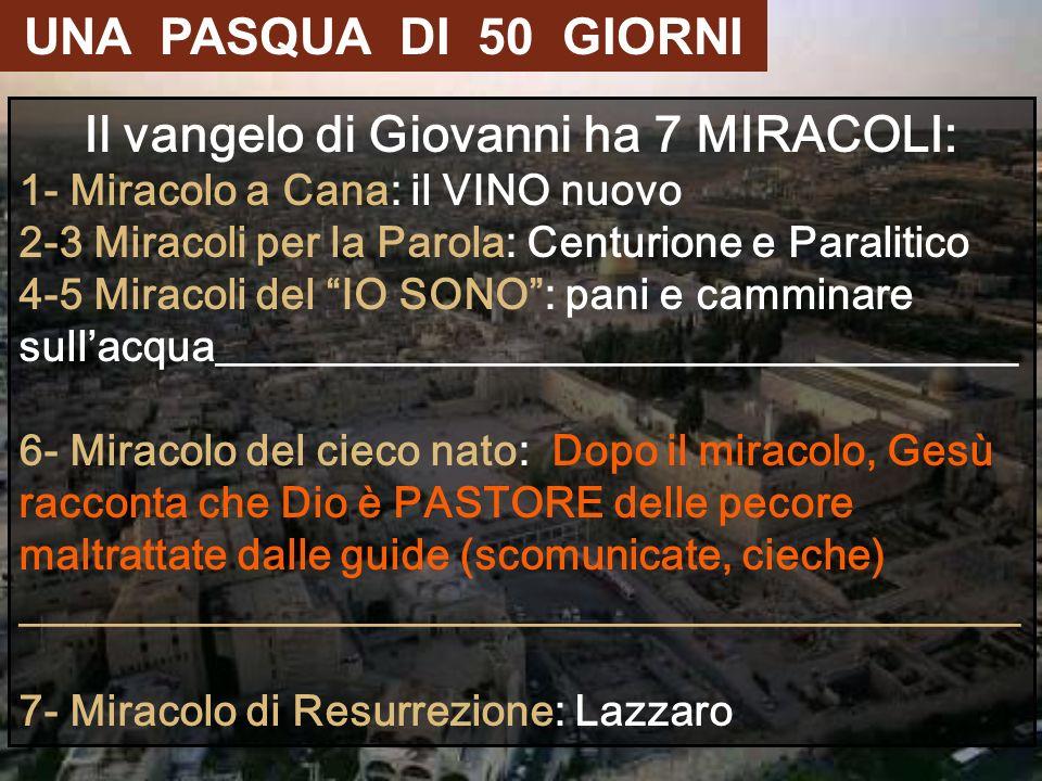 Il vangelo di Giovanni ha 7 MIRACOLI: 1- Miracolo a Cana: il VINO nuovo 2-3 Miracoli per la Parola: Centurione e Paralitico 4-5 Miracoli del IO SONO: pani e camminare sullacqua_____________________________________ 6- Miracolo del cieco nato: Dopo il miracolo, Gesù racconta che Dio è PASTORE delle pecore maltrattate dalle guide (scomunicate, cieche) ______________________________________________ 7- Miracolo di Resurrezione: Lazzaro UNA PASQUA DI 50 GIORNI