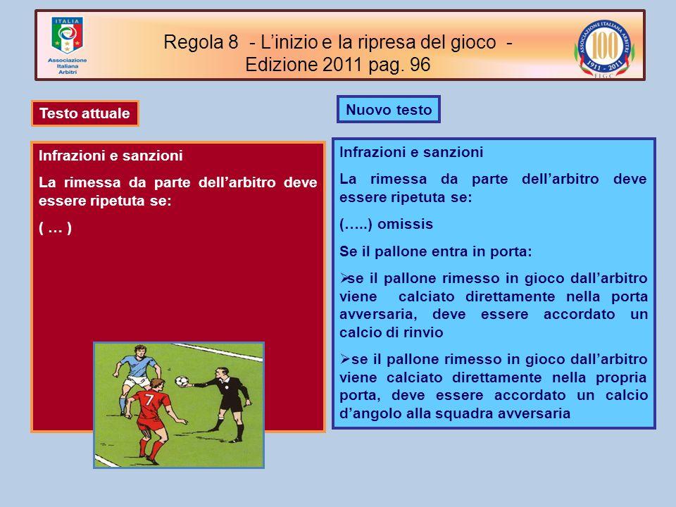 Nuovo testo Infrazioni e sanzioni La rimessa da parte dellarbitro deve essere ripetuta se: (…..) omissis Se il pallone entra in porta: se il pallone r