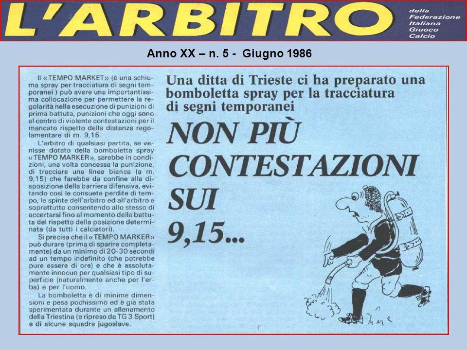Anno XX – n. 5 - Giugno 1986