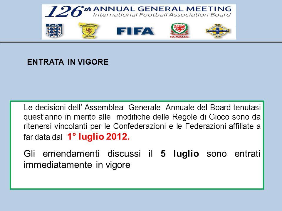 ENTRATA IN VIGORE Le decisioni dell Assemblea Generale Annuale del Board tenutasi questanno in merito alle modifiche delle Regole di Gioco sono da rit