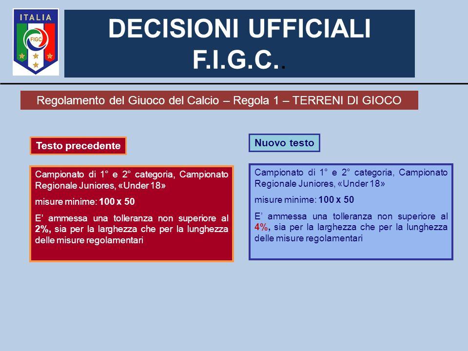DECISIONI UFFICIALI F.I.G.C.. Regolamento del Giuoco del Calcio – Regola 1 – TERRENI DI GIOCO Nuovo testo Campionato di 1° e 2° categoria, Campionato