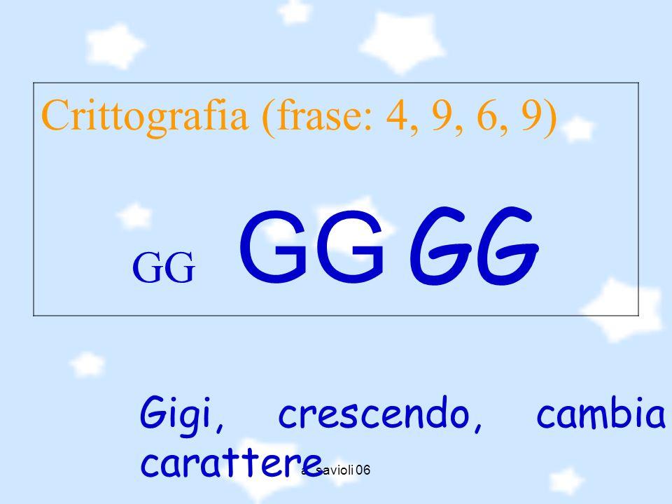 a. savioli 06 Crittografia (frase: 4, 9, 6, 9) GG GG GG Gigi, crescendo, cambia carattere