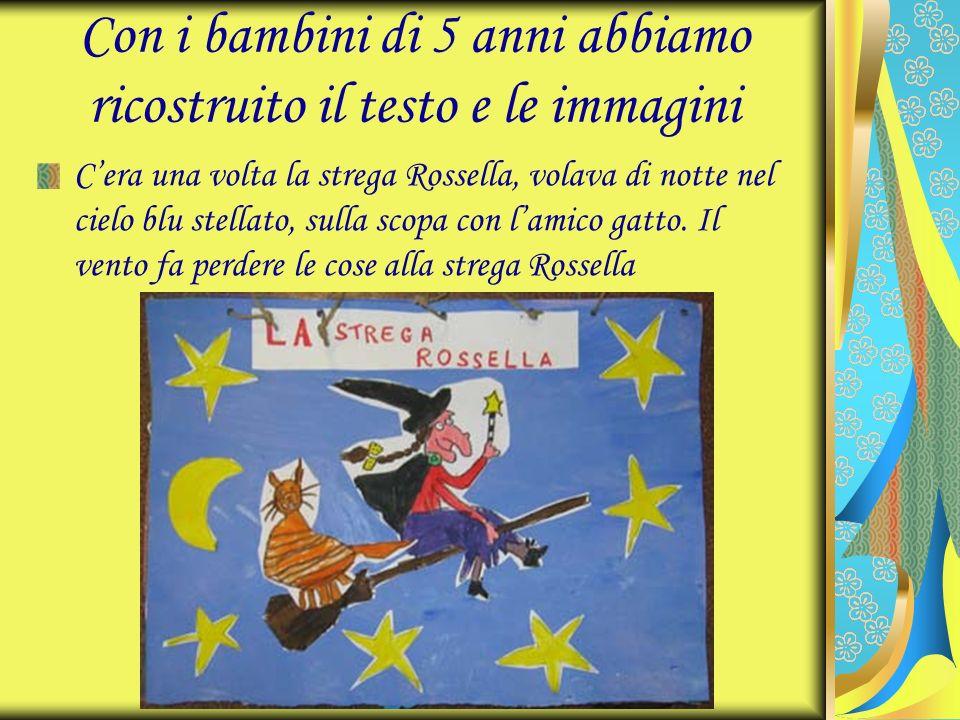 Con i bambini di 5 anni abbiamo ricostruito il testo e le immagini Cera una volta la strega Rossella, volava di notte nel cielo blu stellato, sulla sc