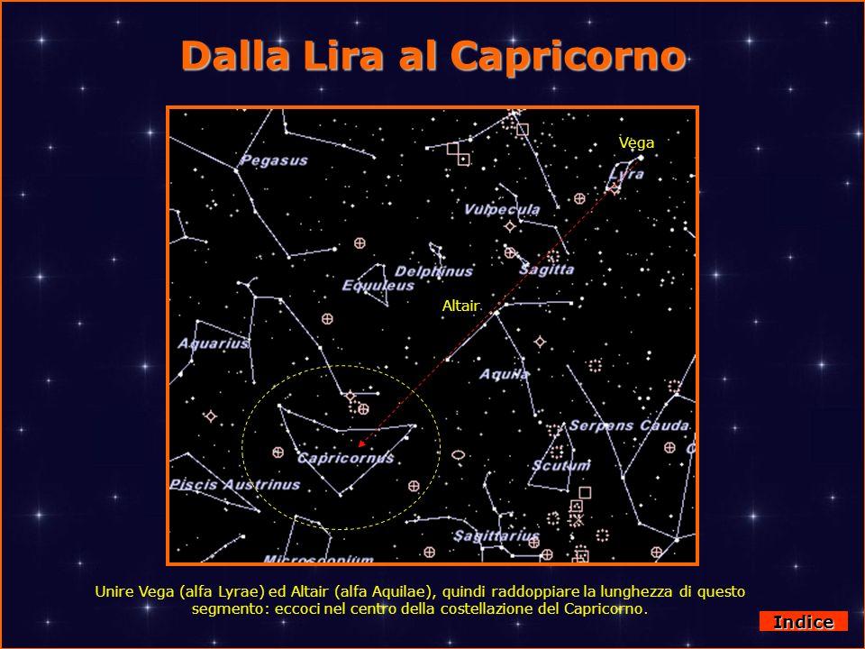 Dalla Lira al Capricorno Indice Unire Vega (alfa Lyrae) ed Altair (alfa Aquilae), quindi raddoppiare la lunghezza di questo segmento: eccoci nel centr