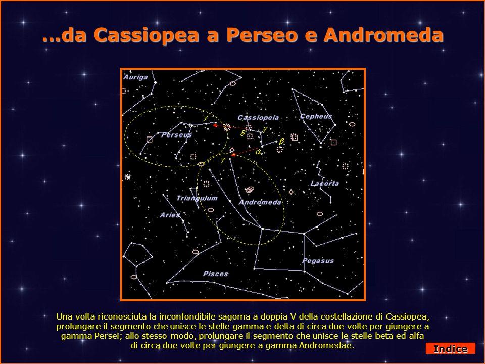 …da Cassiopea a Perseo e Andromeda Indice Una volta riconosciuta la inconfondibile sagoma a doppia V della costellazione di Cassiopea, prolungare il s