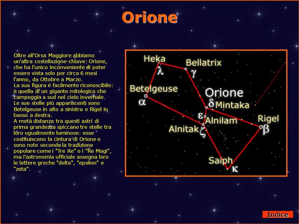 Orione Oltre all'Orsa Maggiore abbiamo un'altra costellazione-chiave: Orione, che ha l'unico inconveniente di poter essere vista solo per circa 6 mesi