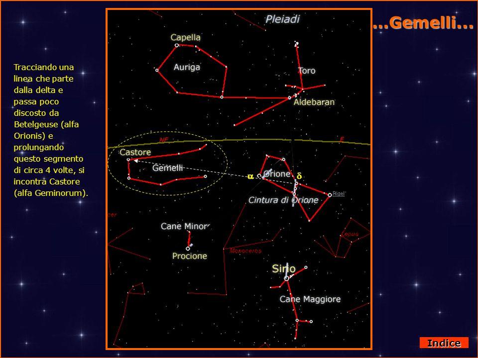 Da Orione ai Gemelli Tracciando una linea che parte dalla delta e passa poco discosto da Betelgeuse (alfa Orionis) e prolungando questo segmento di ci