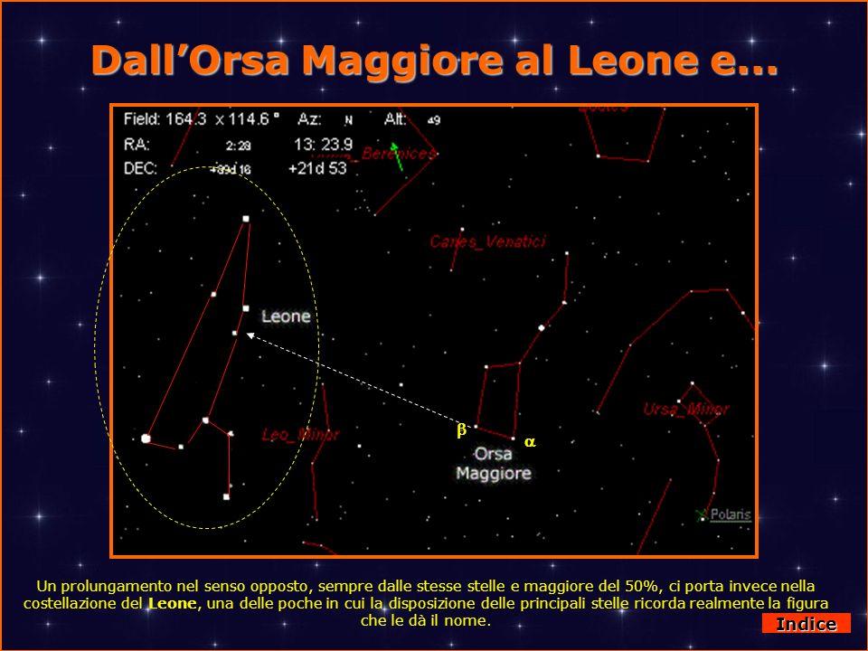 DallOrsa Maggiore al Leone e... Un prolungamento nel senso opposto, sempre dalle stesse stelle e maggiore del 50%, ci porta invece nella costellazione