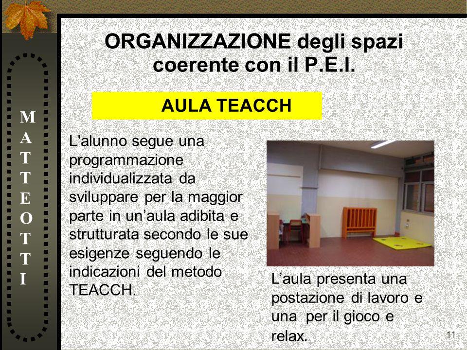 11 ORGANIZZAZIONE degli spazi coerente con il P.E.I. MATTEOTTIMATTEOTTI L'alunno segue una programmazione individualizzata da sviluppare per la maggio