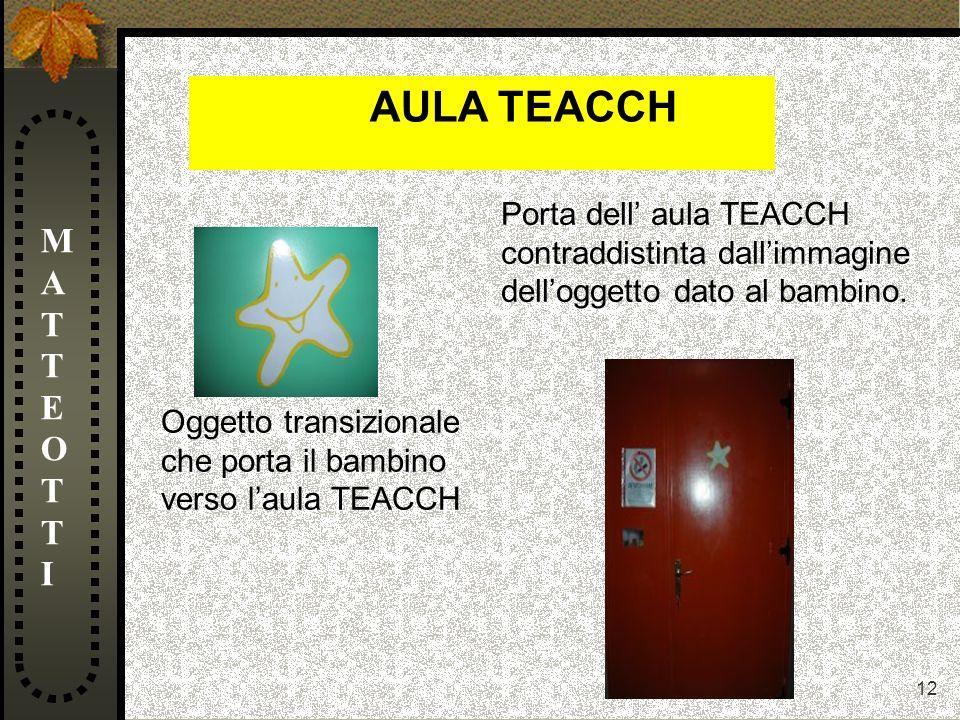 12 MATTEOTTIMATTEOTTI Oggetto transizionale che porta il bambino verso laula TEACCH Porta dell aula TEACCH contraddistinta dallimmagine delloggetto da