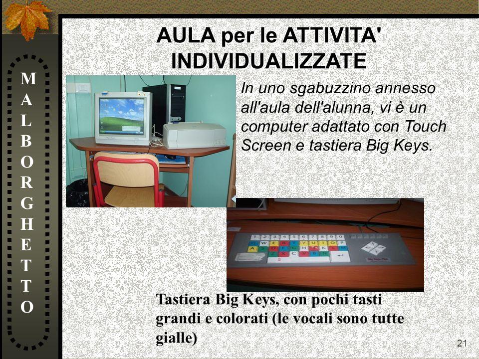 21 MALBORGHETTOMALBORGHETTO AULA per le ATTIVITA' INDIVIDUALIZZATE In uno sgabuzzino annesso all'aula dell'alunna, vi è un computer adattato con Touch