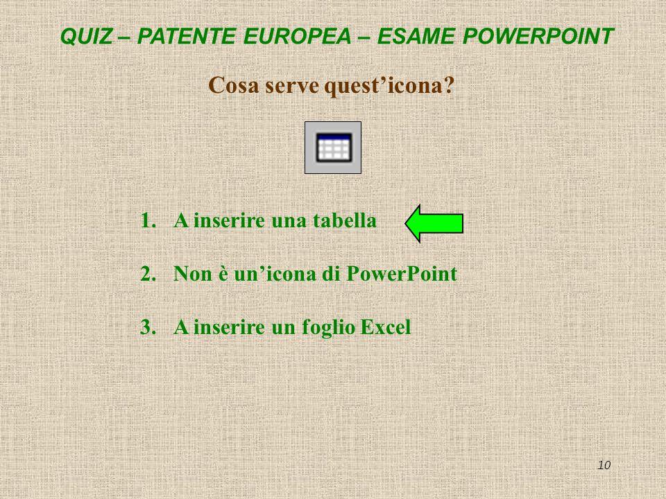 QUIZ – PATENTE EUROPEA – ESAME POWERPOINT 10 Cosa serve questicona? 1.A inserire una tabella 2.Non è unicona di PowerPoint 3.A inserire un foglio Exce