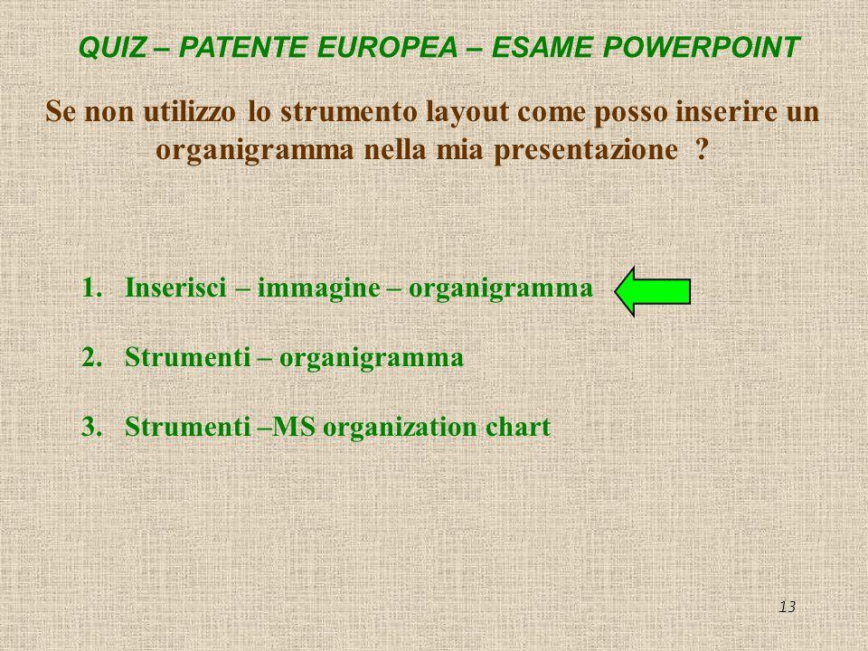 QUIZ – PATENTE EUROPEA – ESAME POWERPOINT 13 Se non utilizzo lo strumento layout come posso inserire un organigramma nella mia presentazione ? 1.Inser