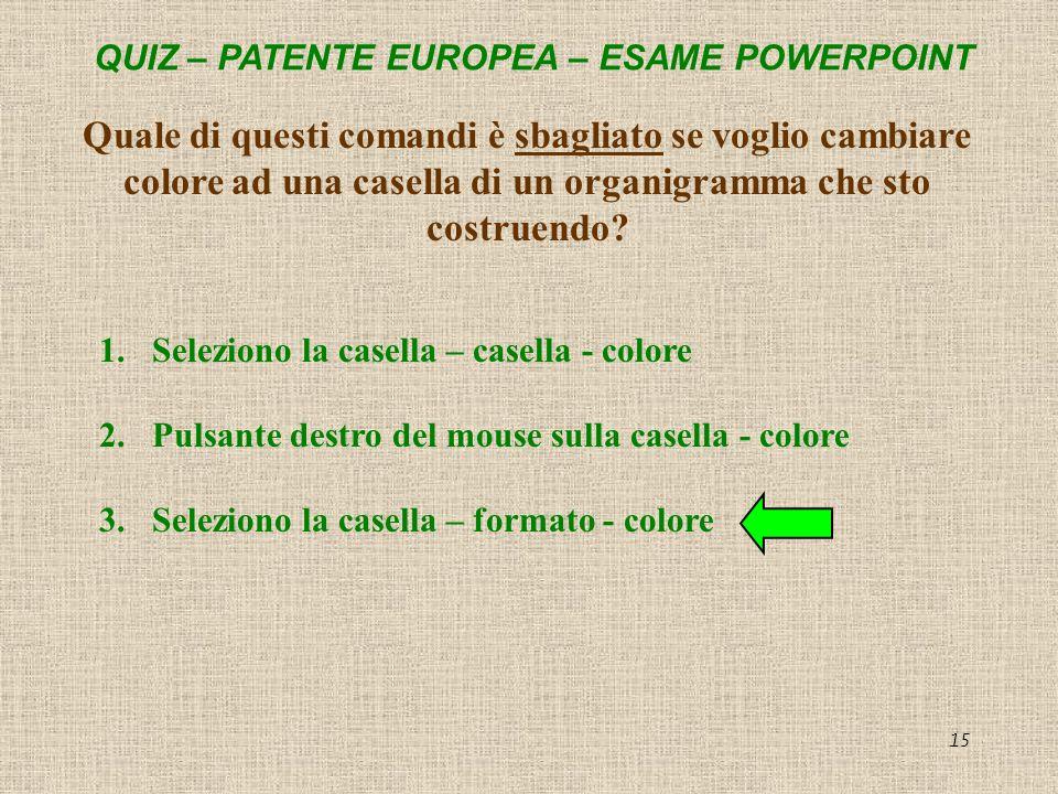 QUIZ – PATENTE EUROPEA – ESAME POWERPOINT 15 Quale di questi comandi è sbagliato se voglio cambiare colore ad una casella di un organigramma che sto c