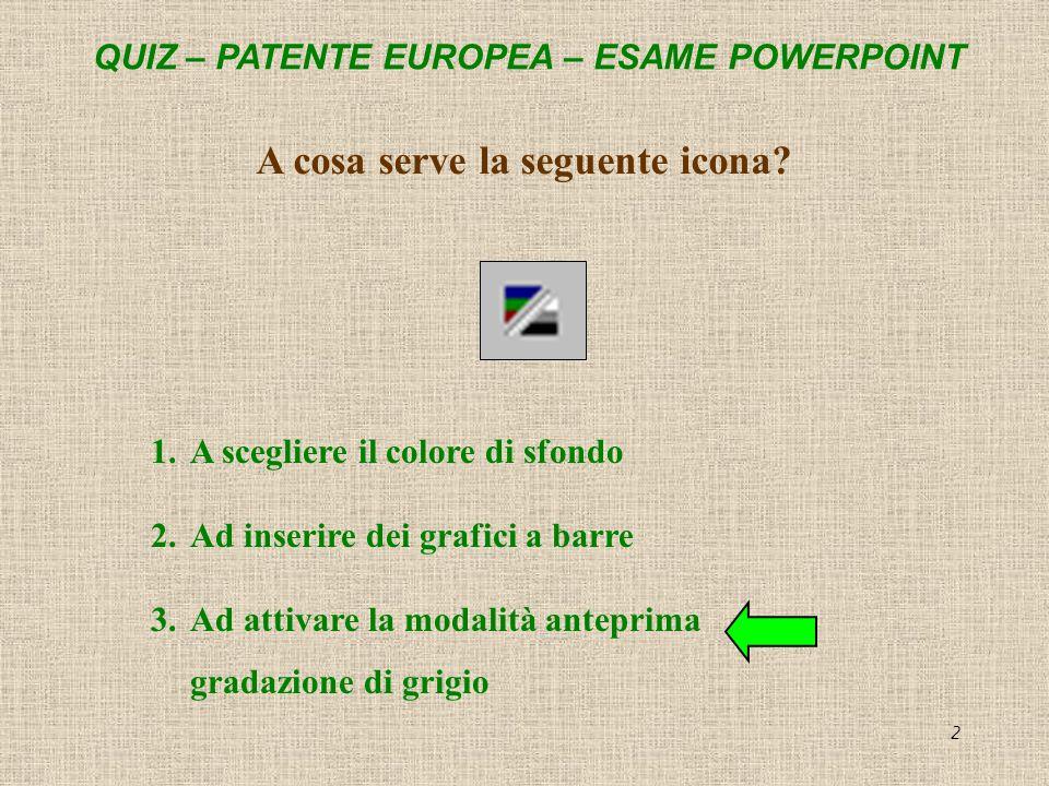 QUIZ – PATENTE EUROPEA – ESAME POWERPOINT 2 A cosa serve la seguente icona? 1.A scegliere il colore di sfondo 2.Ad inserire dei grafici a barre 3.Ad a