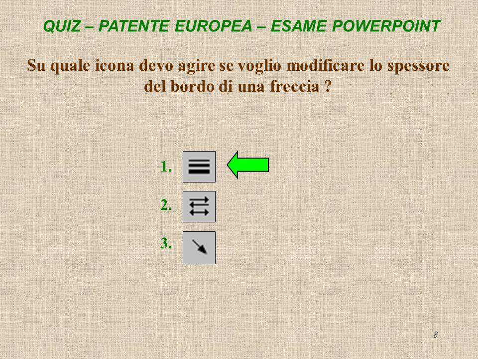 QUIZ – PATENTE EUROPEA – ESAME POWERPOINT 9 Cosa serve questicona.