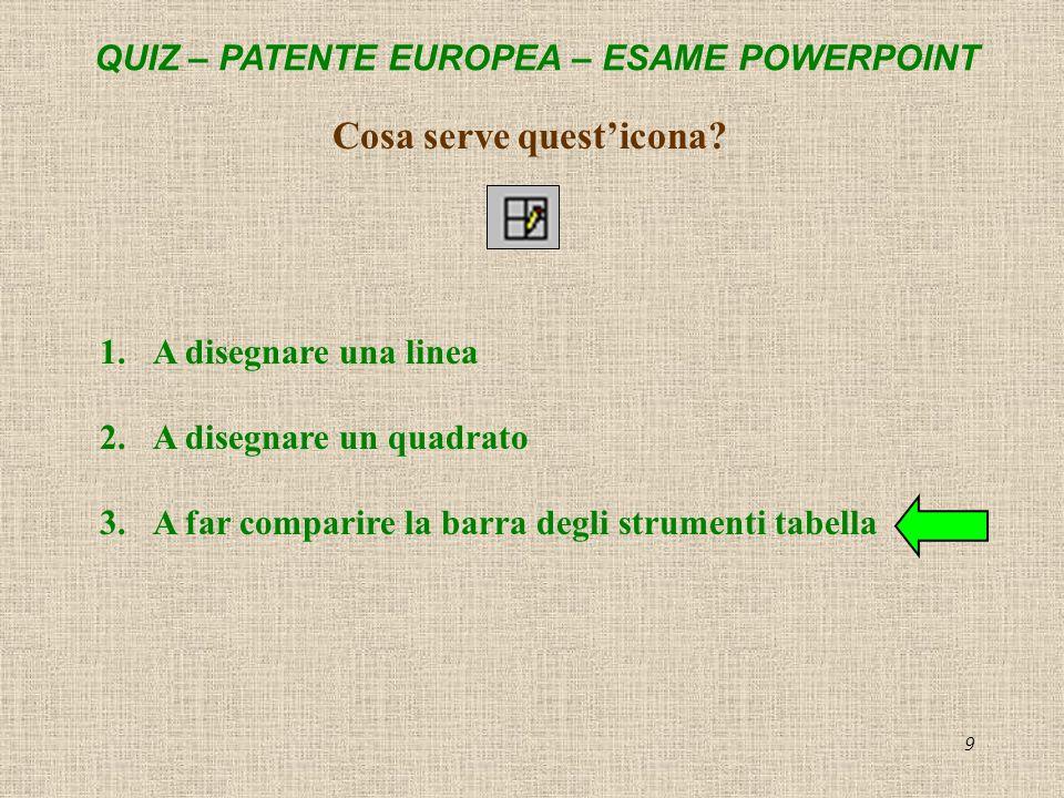 QUIZ – PATENTE EUROPEA – ESAME POWERPOINT 9 Cosa serve questicona? 1.A disegnare una linea 2.A disegnare un quadrato 3.A far comparire la barra degli