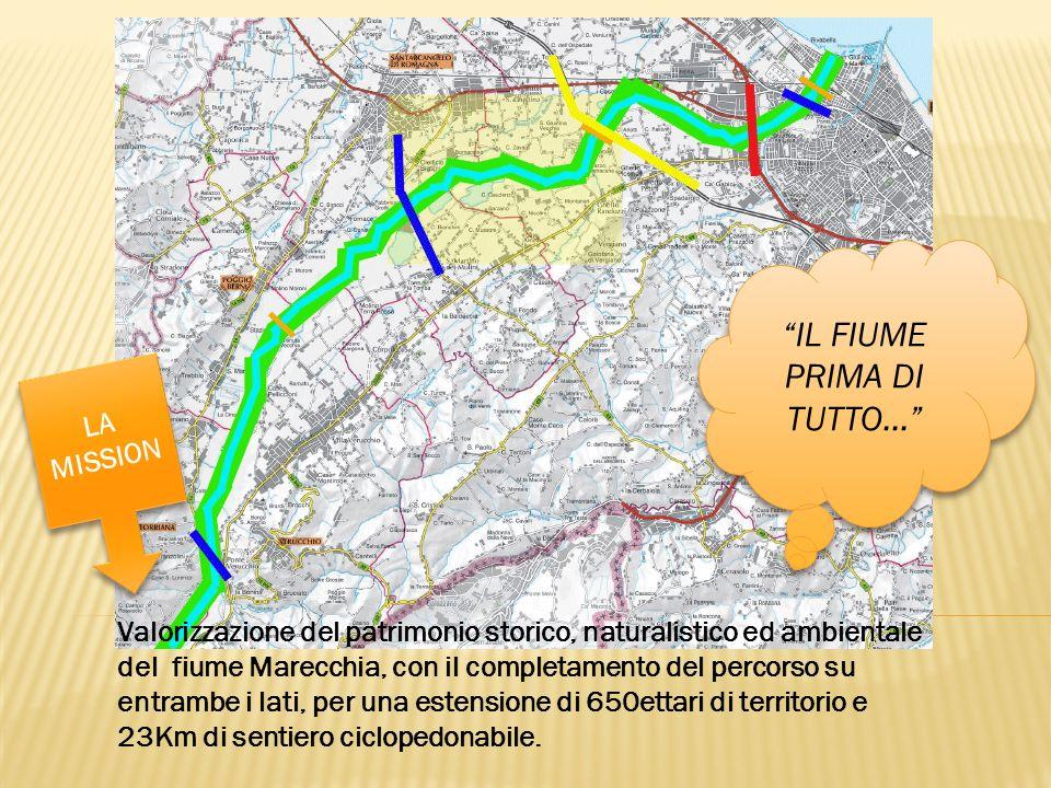 Valorizzazione del patrimonio storico, naturalistico ed ambientale del fiume Marecchia, con il completamento del percorso su entrambe i lati, per una estensione di 650ettari di territorio e 23Km di sentiero ciclopedonabile.