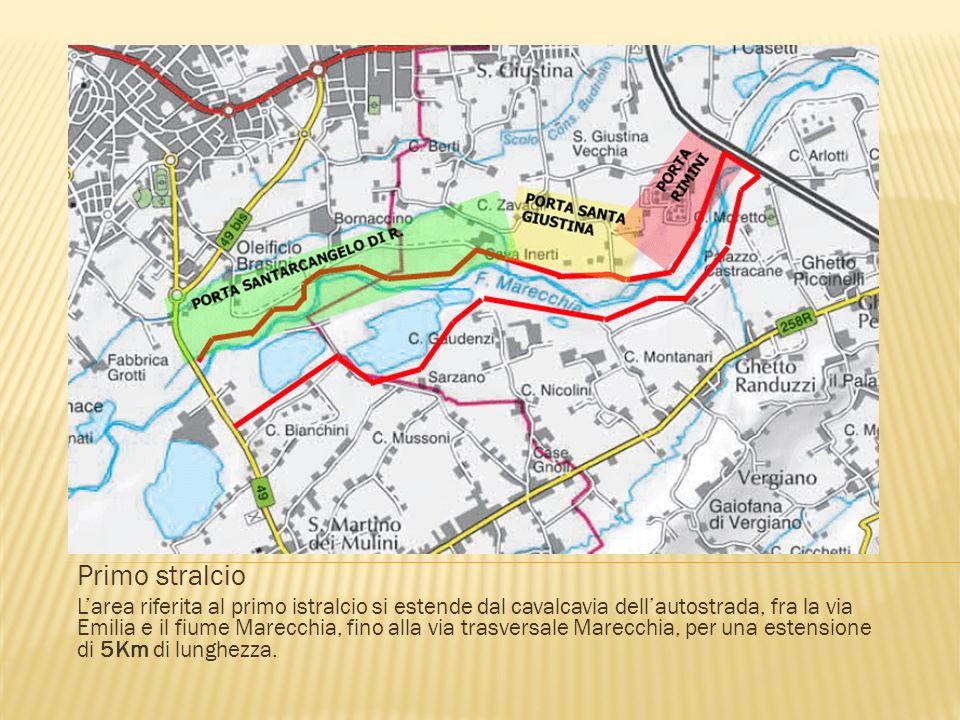 Primo stralcio Larea riferita al primo istralcio si estende dal cavalcavia dellautostrada, fra la via Emilia e il fiume Marecchia, fino alla via trasversale Marecchia, per una estensione di 5Km di lunghezza.