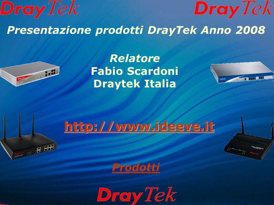 Presentazione prodotti DrayTek Anno 2008 Relatore Fabio Scardoni Draytek Italia http://www.ideeve.it Prodotti
