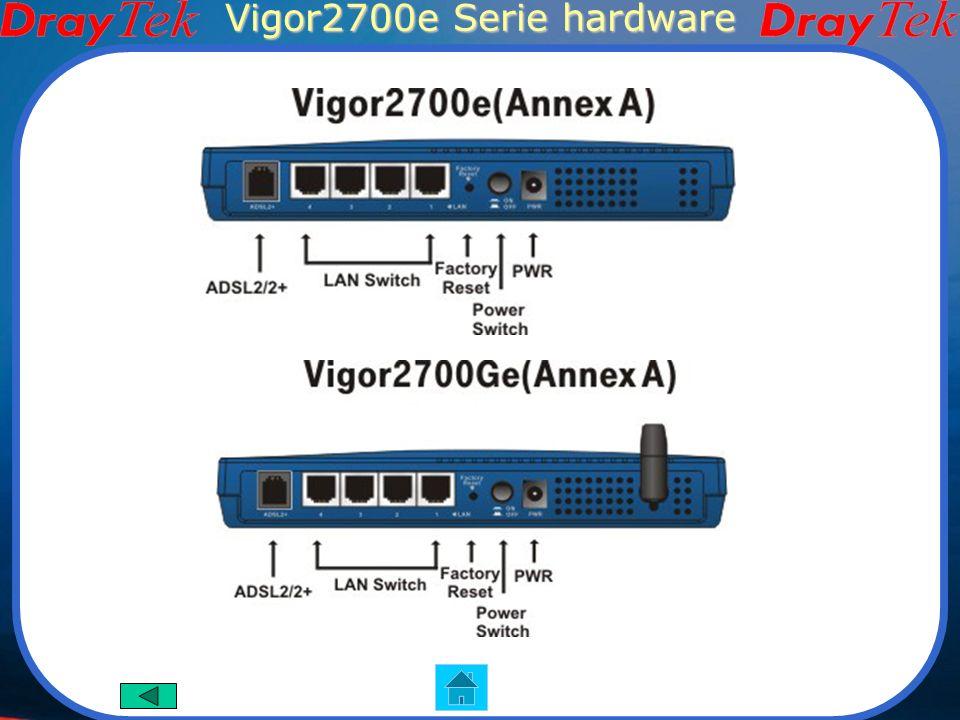 Vigor2700e Serie Wireless Vigor2700e Vigor2700Ge Funzioni Principali Router ADSL2/2+ Firewall Blocco IM/P2P 802.11g WLAN (Modello Ge) Interfaccia Hard