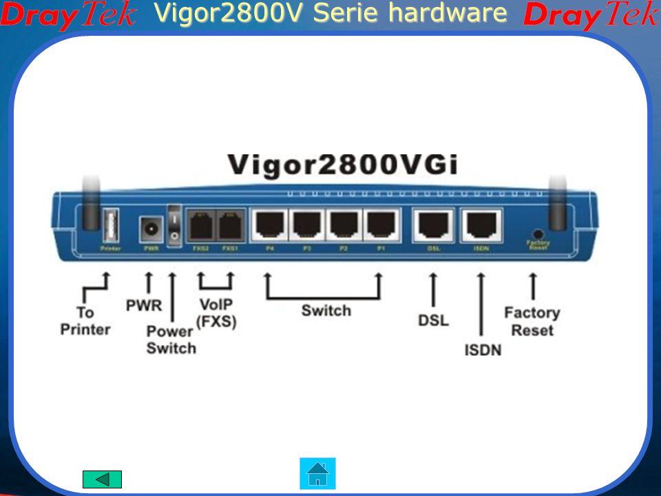 Vigor2800V Serie VoIP Wi-Fi Vigor2800V Vigor2800Vi Funzioni Principali Router ADSL2/2+ Wi-Fi 108Mbps (modelli con G) 32 connessioni VPN Firewall ISDN backup(modelli con I) VoIP integrato(modelli con V) Interfaccia Hardware 1 porta adsl RJ-11 4 porte LAN RJ-45 1 porte BRI RJ-45(modelli con I) 2 antenne wireless(modelli con G) 2 porte VoIP RJ-11(modelli con V) Pulsante di reset isdn Vigor2800VG Vigor2800VGi Immagini dei prodotti