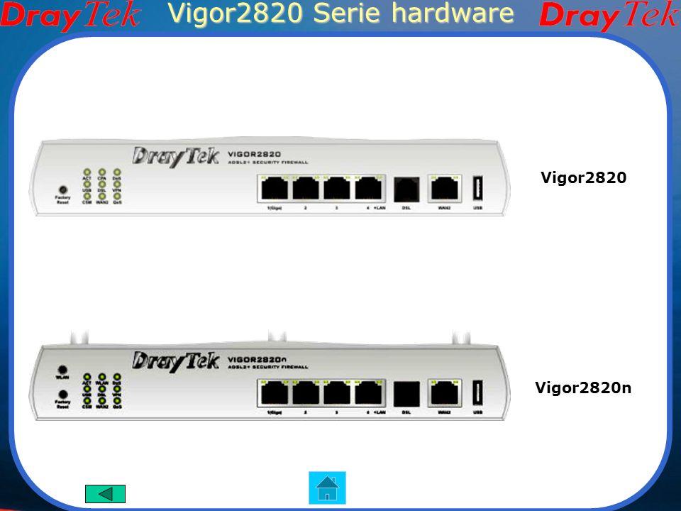 Vigor2820 Serie VoIP Wi-Fi Vigor2820 Vigor2820n Funzioni Principali Router ADSL2/2+ Dual Wan (RJ-11 e RJ-45) Supporta HSDPA(usb) 12 server SIP(modelli con V) 802.11n wireless(modelli con n) Firewall Porte isdn configurabili(modelli con S) Supporta TR-069 Interfaccia Hardware 1 porta adsl RJ-11 1 porta Giga LAN 3 porte 10/100 LAN RJ-45 1 porta WAN RJ-45 2 porte VoIP RJ-11(modelli con V) 2 porte ISDN RJ-45(modelli con S) 3 antenne wireless(modelli con n) Pulsante on/off wireless Pulsante di reset isdn Vigor2820Vn Vigor2820VS Immagini dei prodotti Vigor2820VSn