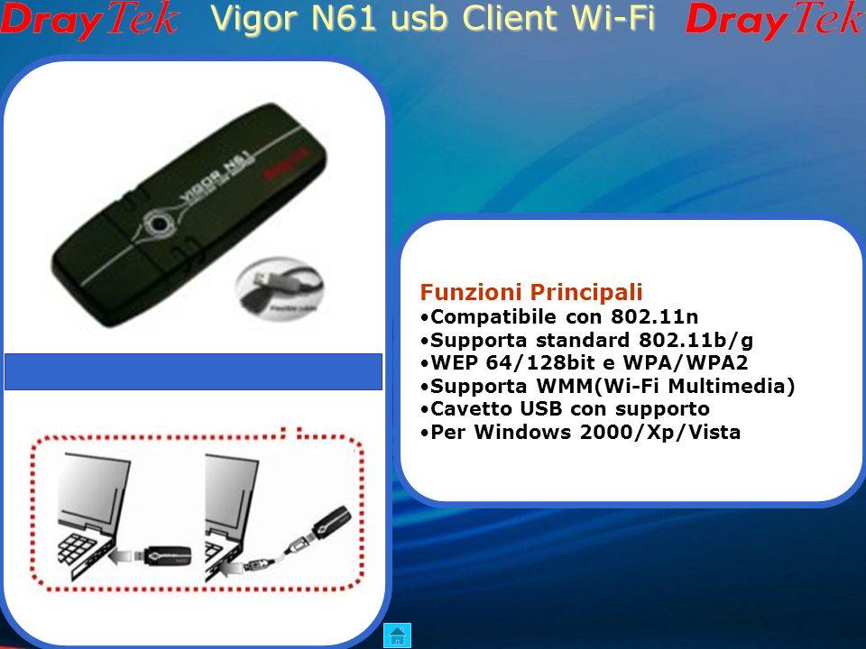 Vigor610 usb Client Wi-Fi Funzioni Principali Standard 802.11b/g USB 2.0 WEP 128bit e WPA/WPA2 Antenna esterna Cavo USB con supporto Per Windows98se/M
