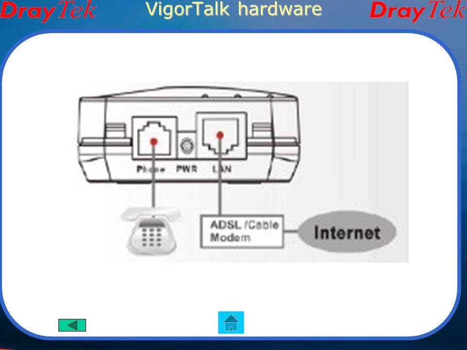 VigorTalk Funzioni Principali Adattatore telefono analogico Protocollo: SIP (RFC3261), RTP/RTCP Client DHCP/PPPoE/IP Statico/PPTP Interfaccia Utente basata su Web Configurazione anche tramite tastiera telefono collegato Immagini del prodotto Interfaccia Hardware 1 porta ethernet RJ-45 1 porta FXS RJ-11 Pulsante di reset